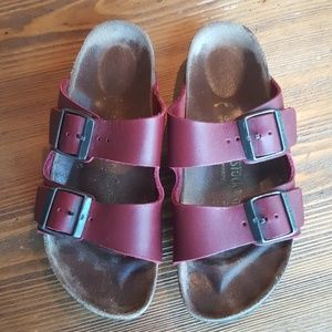 Burgundy Arizona Birkenstocks 38 hard sole